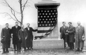 Oliver Cowdery gravestone and three witnesses monument.jpg