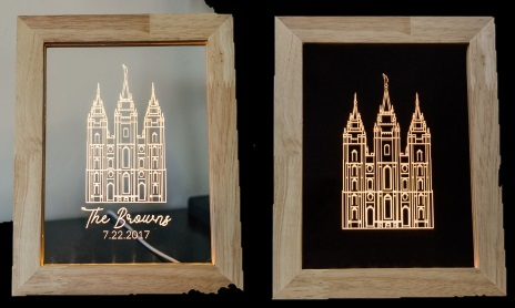 Wedding or Anniversary Gift - Salt Lake City Temple Illuminated Picture Frame - Regular and Personalized