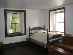 Carthage Jail Bedroom where Joseph and Hyrum Smith were killed.