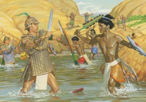 Nephite and Lamanite armies fighting.jpg