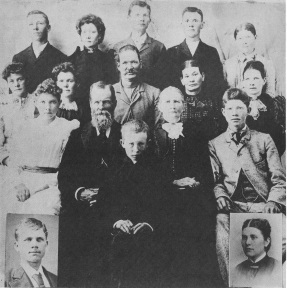 Arza and Temperance Ricks Hinckley with the living children from all three wives.