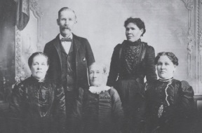 Mary and four of her Children. Back: Walter Muir, Jr., Annie Muir Bird, Front: Jane Muir Muir, Mary Bell Muir, Agnes Muir Richards