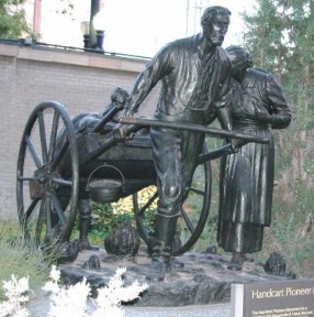 John Rowe Moyle pulling a handcart - Handcart Monument Temple Square