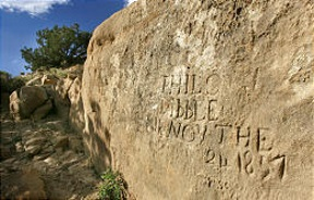 Echo Canyon writing of men on canyon wall from 1857-58.jpg