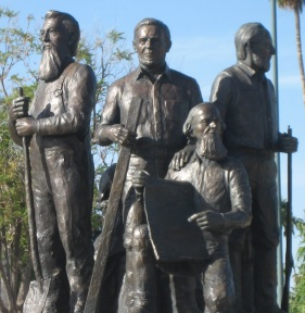 Mesa Pioneers Statue - Francis Martin Pomeroy is in the Center.