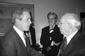 President George W. Bush meets Gordon B. Hinckley 2001.jpg