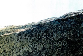 Name written on Independence Rock in Wyoming