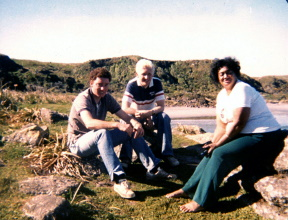 April 28 1982 - Elder McIntosh, myself, and Sister McIntyre - Turanga Bay - small.jpg