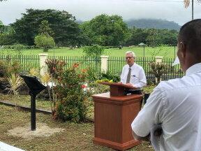 Elder O. Vincent Haleck,  in Samoa's Fagali'i Cemetery.jpg