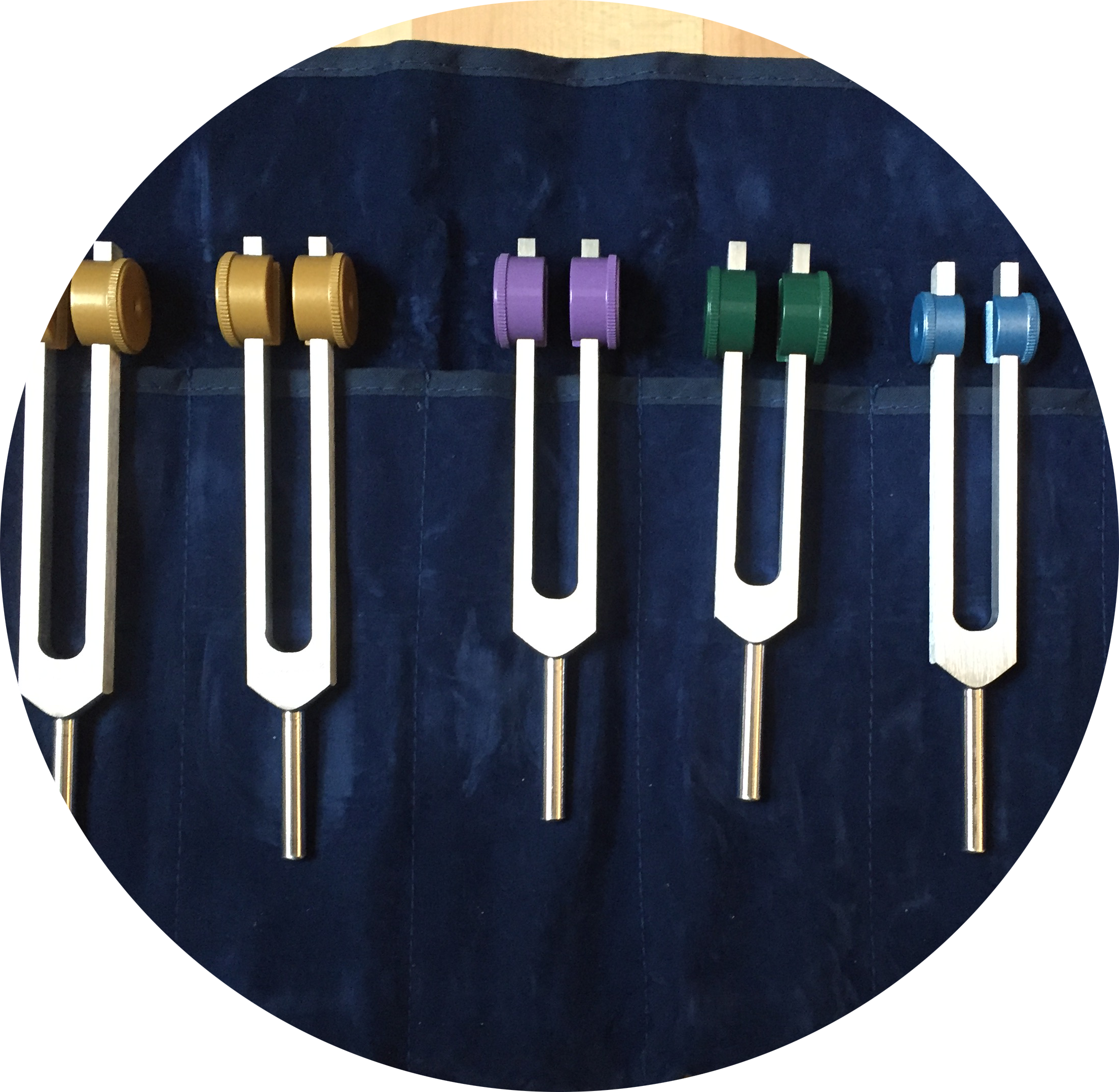 Tuning Forks - Tuning forks are activated and then they are placed on points of the body. The sound vibration travels through the body, assisting in relaxation and healing.