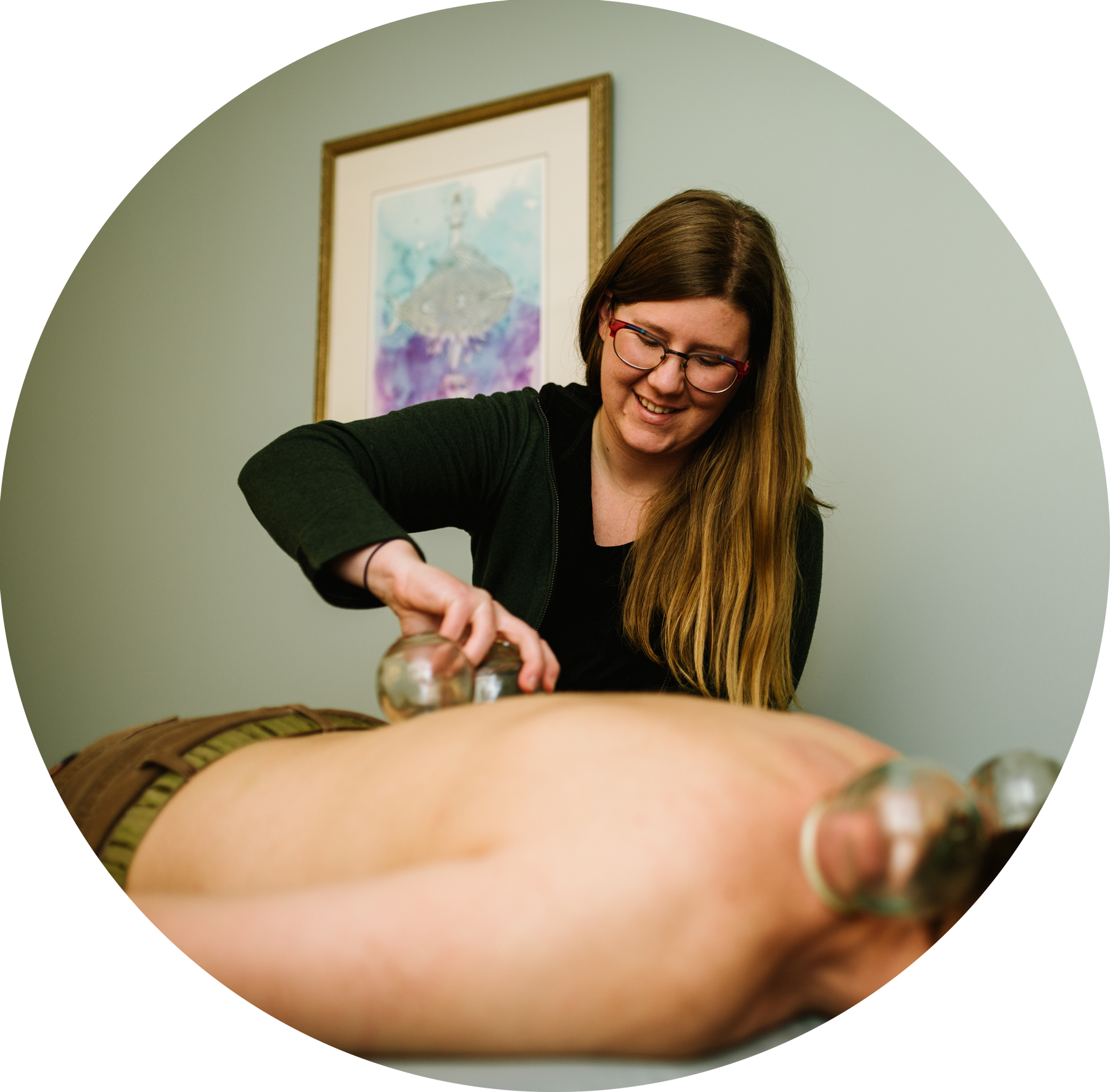 Cupping - A technique that uses glass cups as suction devices, typically along the back. Muscles are able to relax, while also working the deep tissues and removing toxins and blockages.