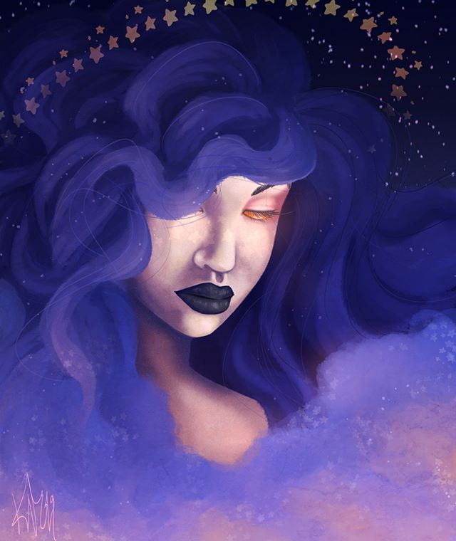 #illustration #digitalart #firealpaca #artistsoninstagram #art #space #darkart #purplehair