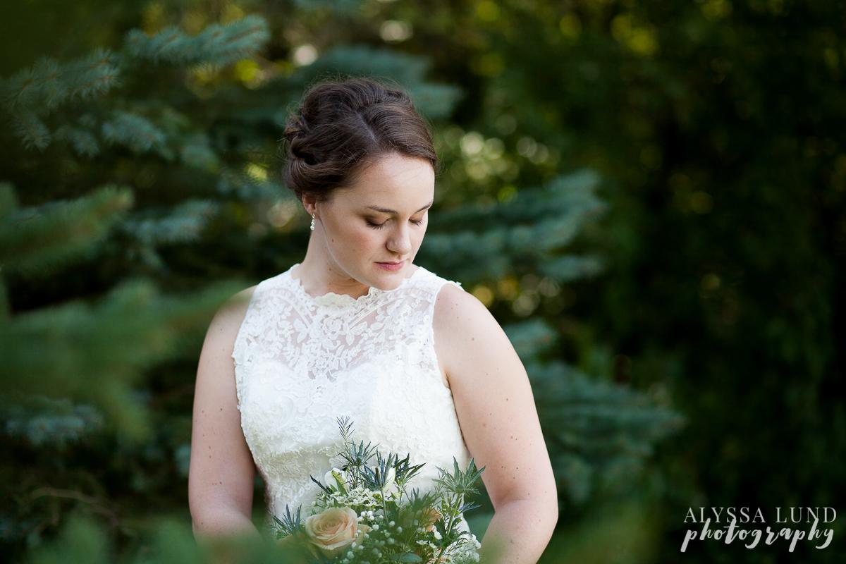 Bridal portrait in pine trees