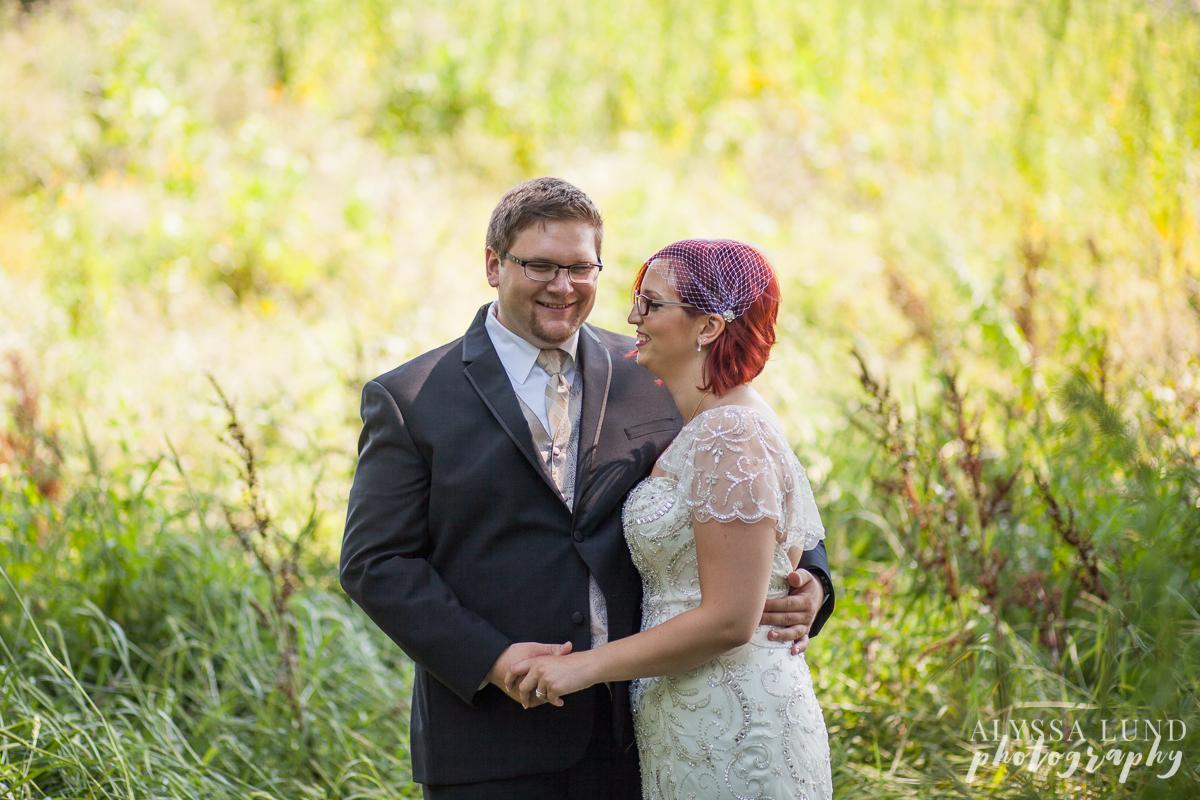 Shakopee Minnesota outdoor wedding portrait in a field