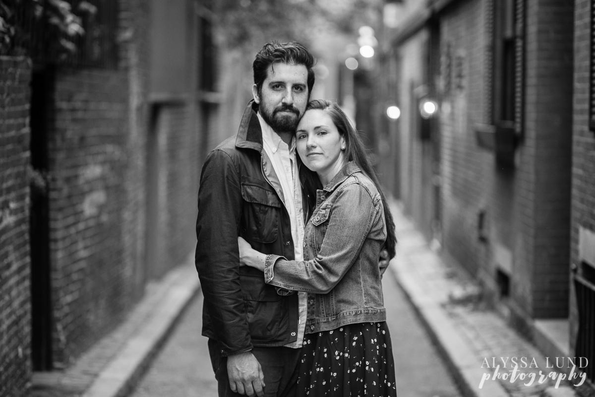 romantic black and white engagement portrait