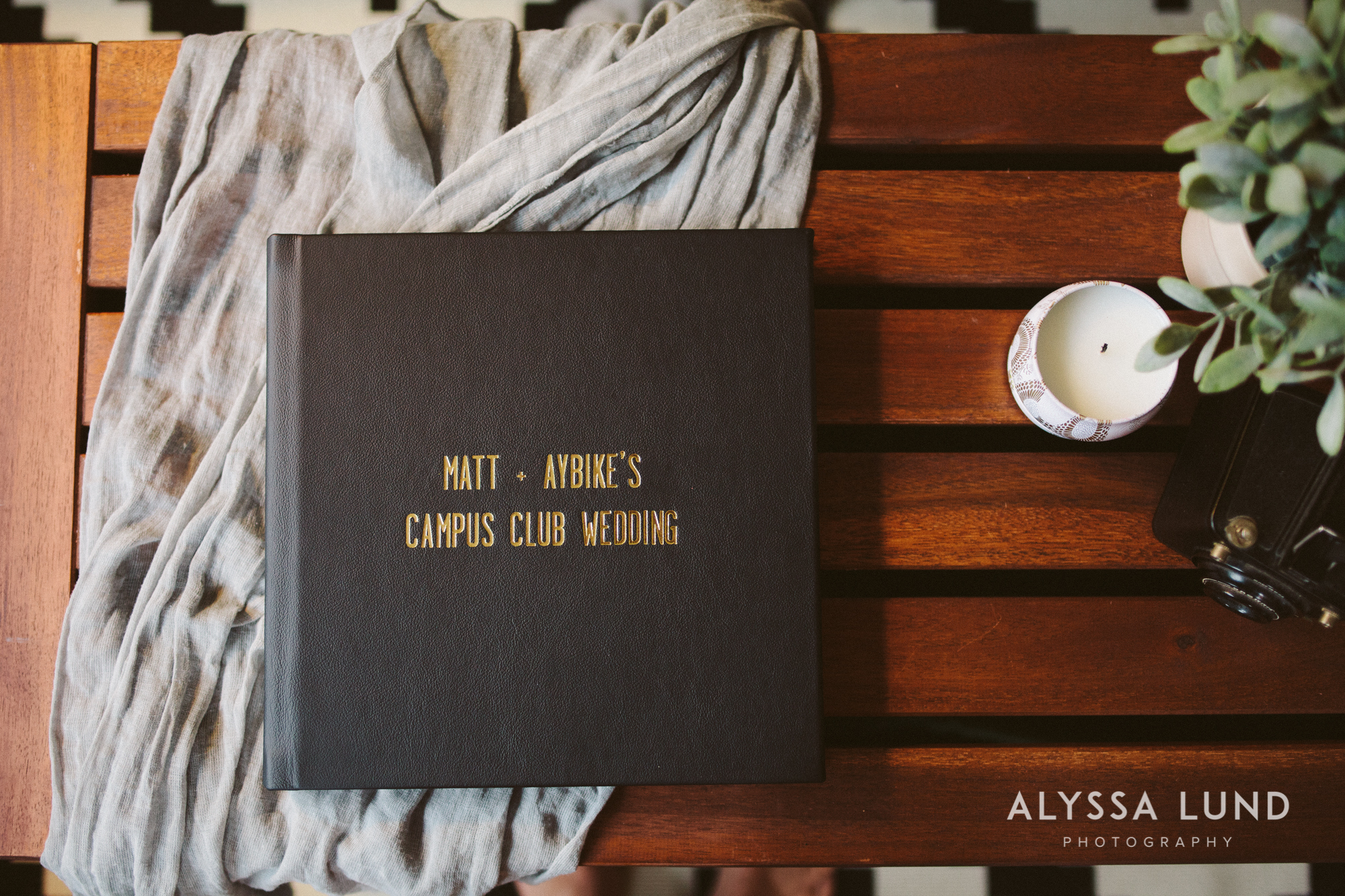 A leather printed wedding album with gold foil