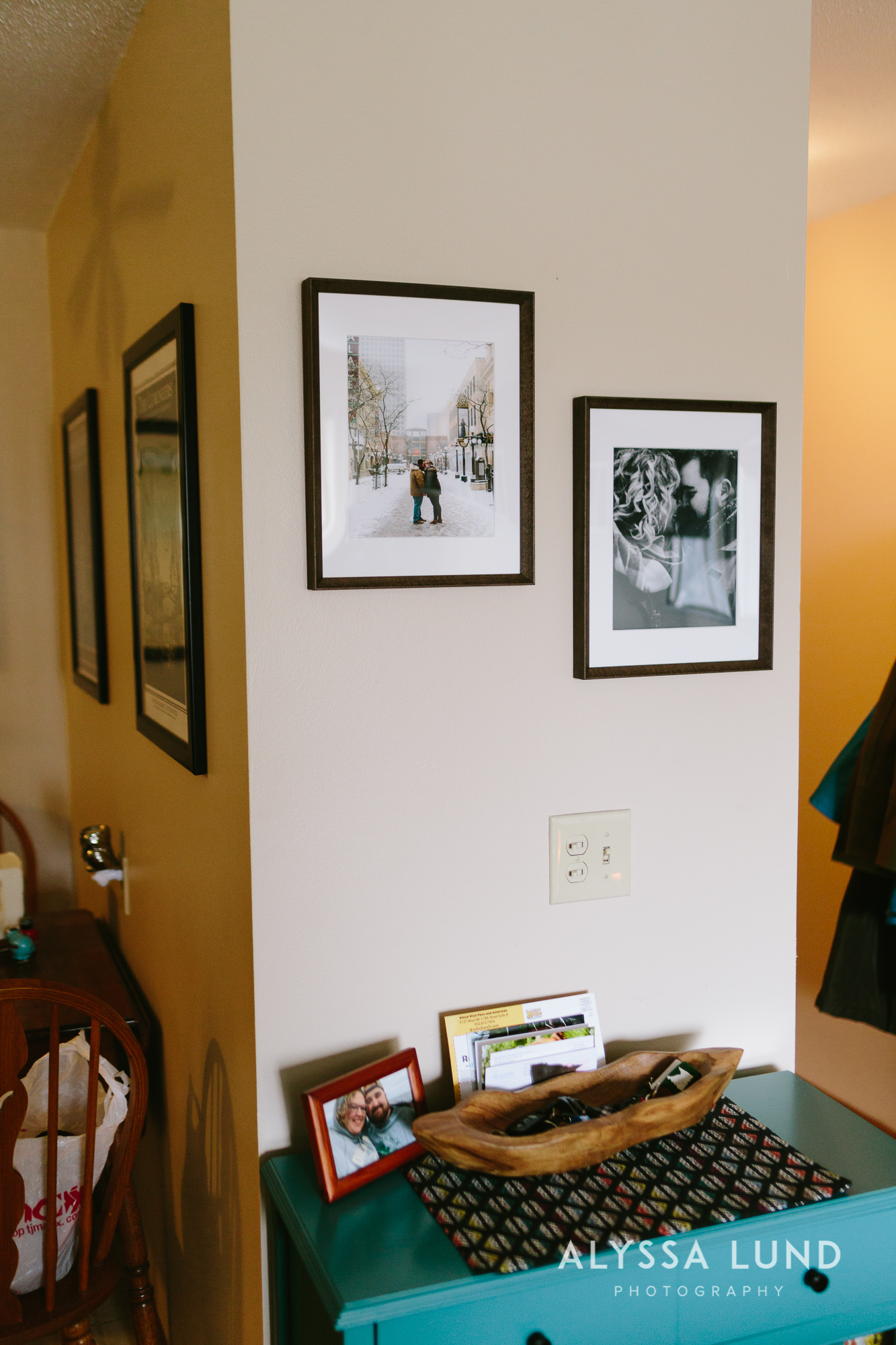 Engagement wall gallery by Alyssa Lund Photography
