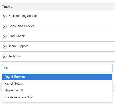 """- Next you will skip down to Tasks & add tasks to the client as appropriate. This photo example is showing what you would need if a client was using HarQuin payroll services. You would type """"Payroll"""" and select """"Payroll Setup"""" as well as """"Payroll Services"""" to add them to the client project.If a client is doing sales tax with us, then add Sales tax and Sales tax setup.Once all tasks (if any) are added, scroll to the bottom of the page & click the green """"Save Project"""" button. You are now able to start your timer for client. Be sure to tack on any minutes spent on client before adding them in Harvest. As a success team person, you will want to bill your hours under """"Team Support"""" only when you are setting up. If you do bookkeeping for your client, bill it as bookkeeping."""