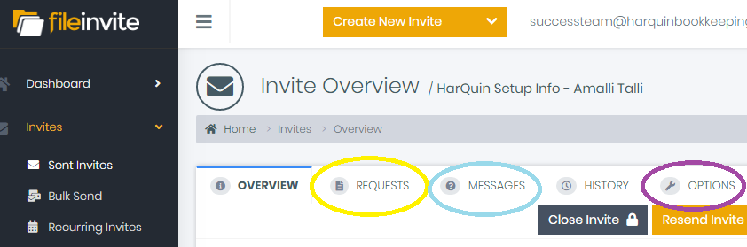 """File Invite - File Invite is the name for the client portal. This is our main hub for client contact & will be our best resource for getting passwords, getting forms returned, and messaging with the client while on-boarding. We will also continue to use File Invite after on-boarding for bookkeepers & sales tax to be able to message the client and request new passwords, should we need them. You will find the log in info for File Invite in the """"Passwords – Success Team"""" task in Asana. Once logged in, you can click the Invites > Sent invites tab or the Yellow Invites button on the home page to go to the master list of client invites we've sent. You can sort by """"Status"""" to view Returned invites first & scroll through to find your client's invite. From here you can view the Requests tab (yellow circle below) to continue set up based on your Success Team task in Asana. You will also be messaging the client view the Messages tab (blue circle below) with you intro message & with any questions you have for them. The Options tab (purple circle below) is where you can update/change the notification setting for that specific invite. If the client has returned most things or is in the process of getting things to you, it would be wise to turn off most/all notifications of reminders so we do not annoy them with reminder overload.**To note: Lindsey DOES NOT see when the client has begun returning information, so be on the lookout for returned or progressing invites in your department (i.e.: HarQuin or Boutique or Gyms). If a client has begun submitting data and we do not have a cloud folder or Asana task for them yet – message Lindsey ASAP so you can get started. :)*"""