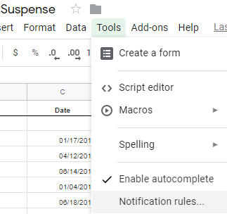 Google Sheet – Suspense - The Success Team member will be in charge of creating a new google sheet for each new client's suspense. You will log into Gmail under admin@harquinbookkeeping.com > Go to Google Drive > + New > Google Sheets > Change name from Untitled spreadsheet to client's name – Suspense. (For example: Blanc Boutique – Suspense.) Once the sheet is created there are two important steps you need to complete:1. Set Notification Rulesa. Go to Tools > Notification rules > Notify me when any changes are made & Email –right away