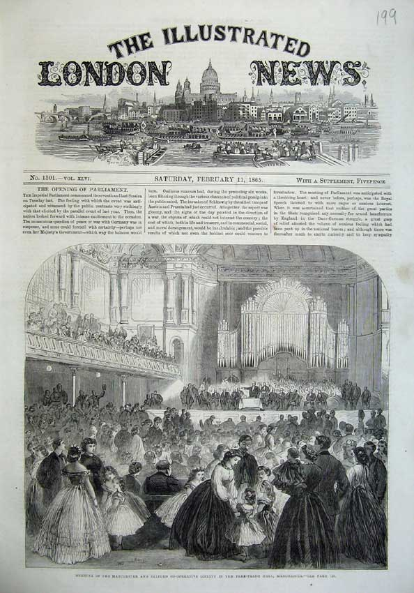 Free Trade Hall, Manchester. Illustrated London News. 11 February 1865