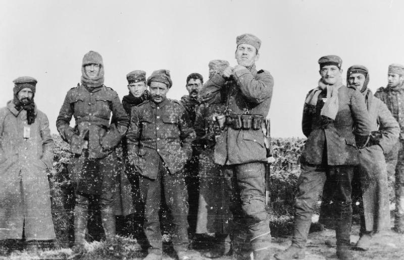 C.A.F. Drummond (Lt), Royal Field Artillery, The Christmas Truce 1914: German soldiers of the 134th Saxon Regiment photographed with men of the 2nd Battalion Royal Dublin Fusiliers in No Man's Land on the Western Front. Imperial War Museums, photograph HU 35801.