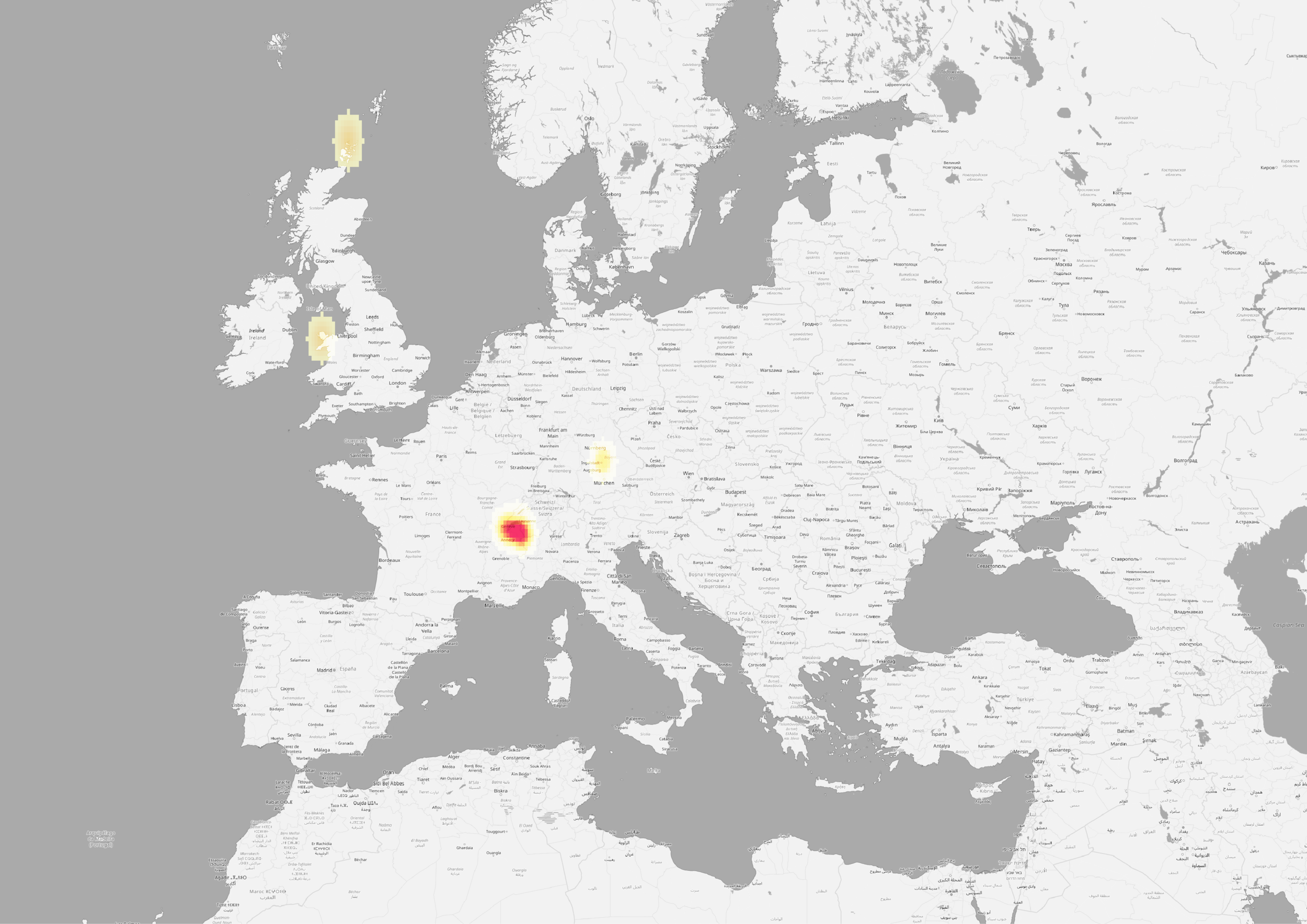 "Heatmap of Mary Shelley's geography of the ""Sublime."""