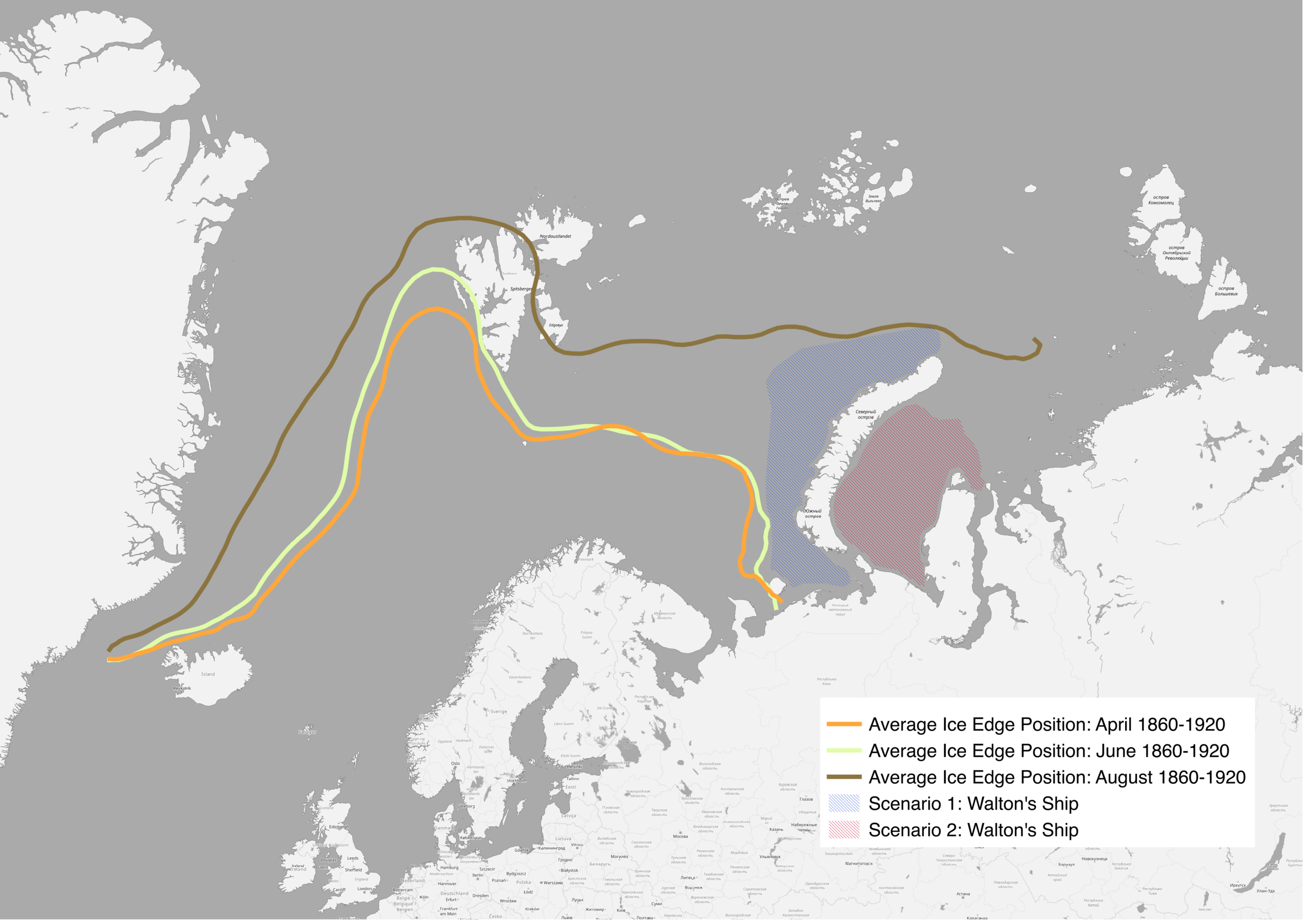 Walton's travels in  Frankenstein  around the northern tip of the Novaya Zemlya archipelago .  Data from Divine, D. V. and C. Dick. 2007. March through August Ice Edge Positions in the Nordic Seas, 1750-2002, Version 1. ACSYS Historical Ice Chart Archive. Boulder, Colorado USA. NSIDC: National Snow and Ice Data Center. doi: https://doi.org/10.7265/N59884X1. 21 April 2018.