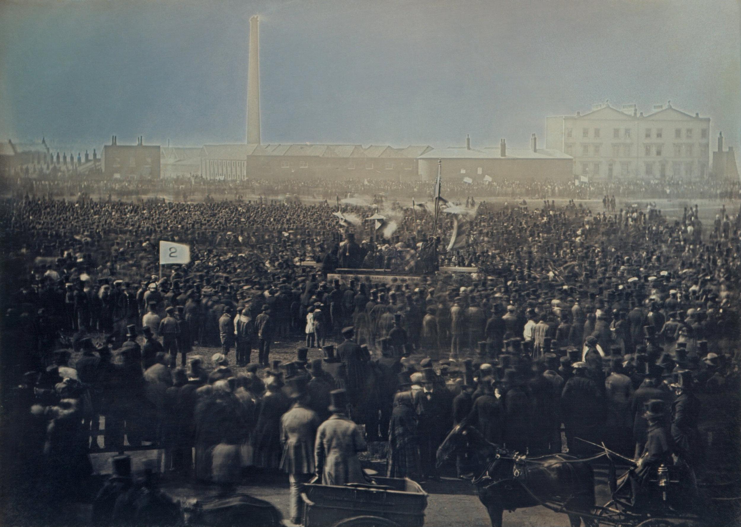 The Great Chartist Meeting on Kennington Common 1848. Photo taken by William Kilburn.
