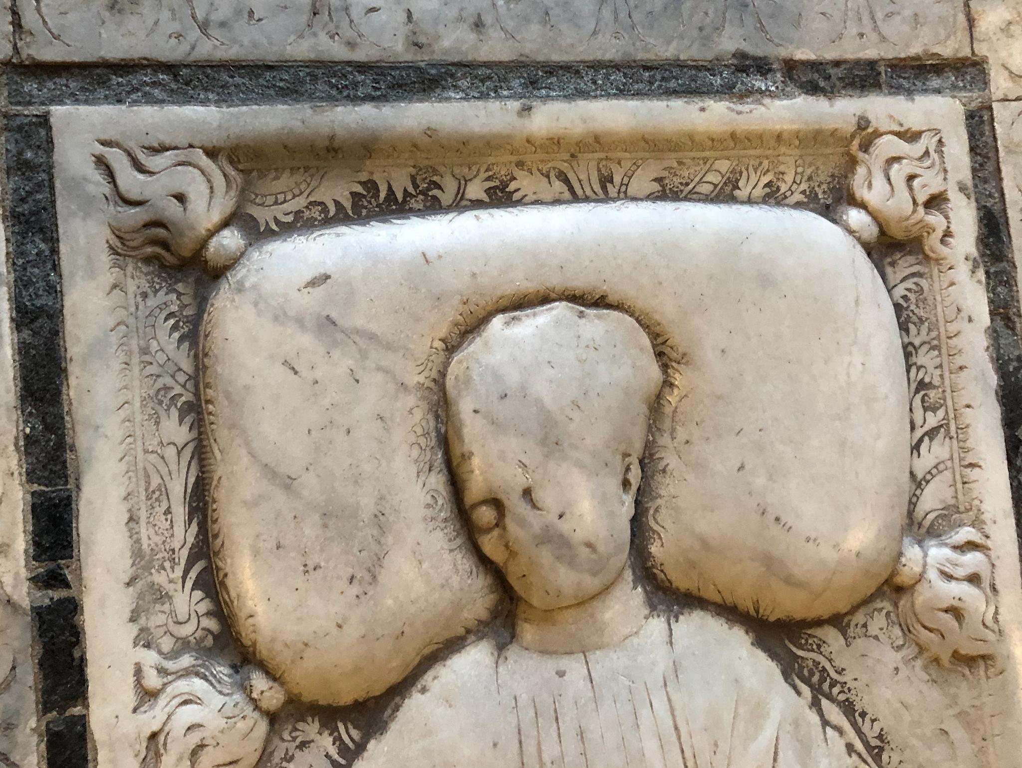 Tomb of Agostino Sanctucio. Late 15th century. Basilica of Santa Croce. Florence, Italy.