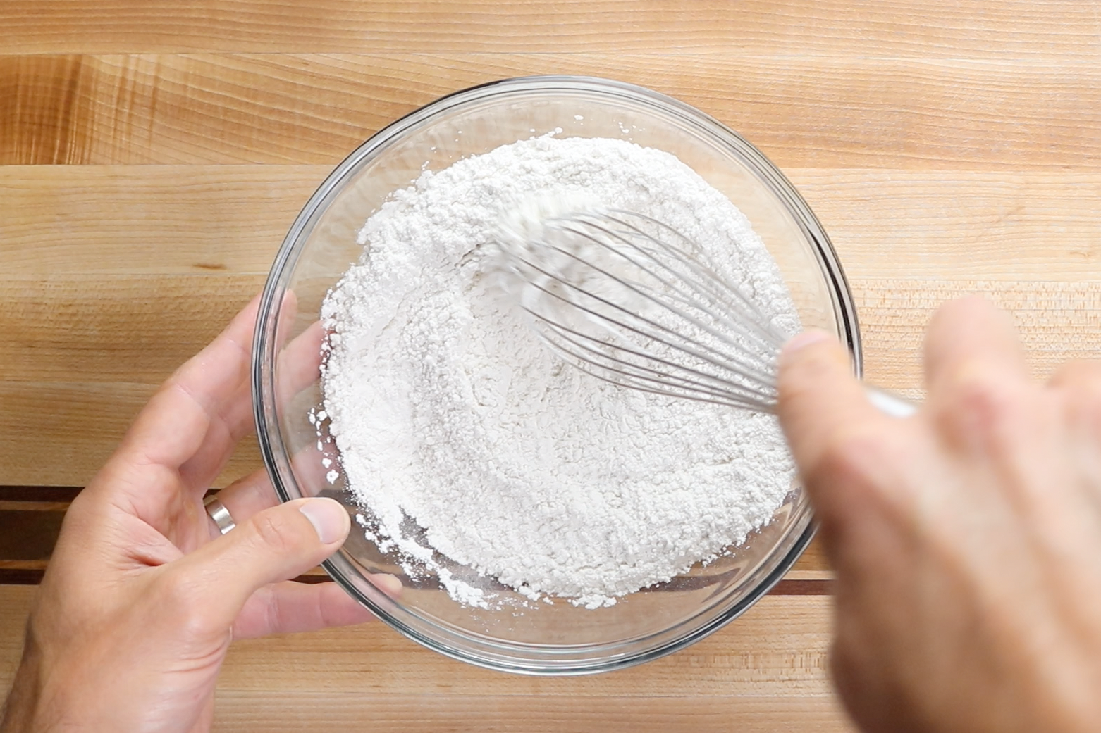 2. In a large bowl combine the flour, salt, and baking powder. -