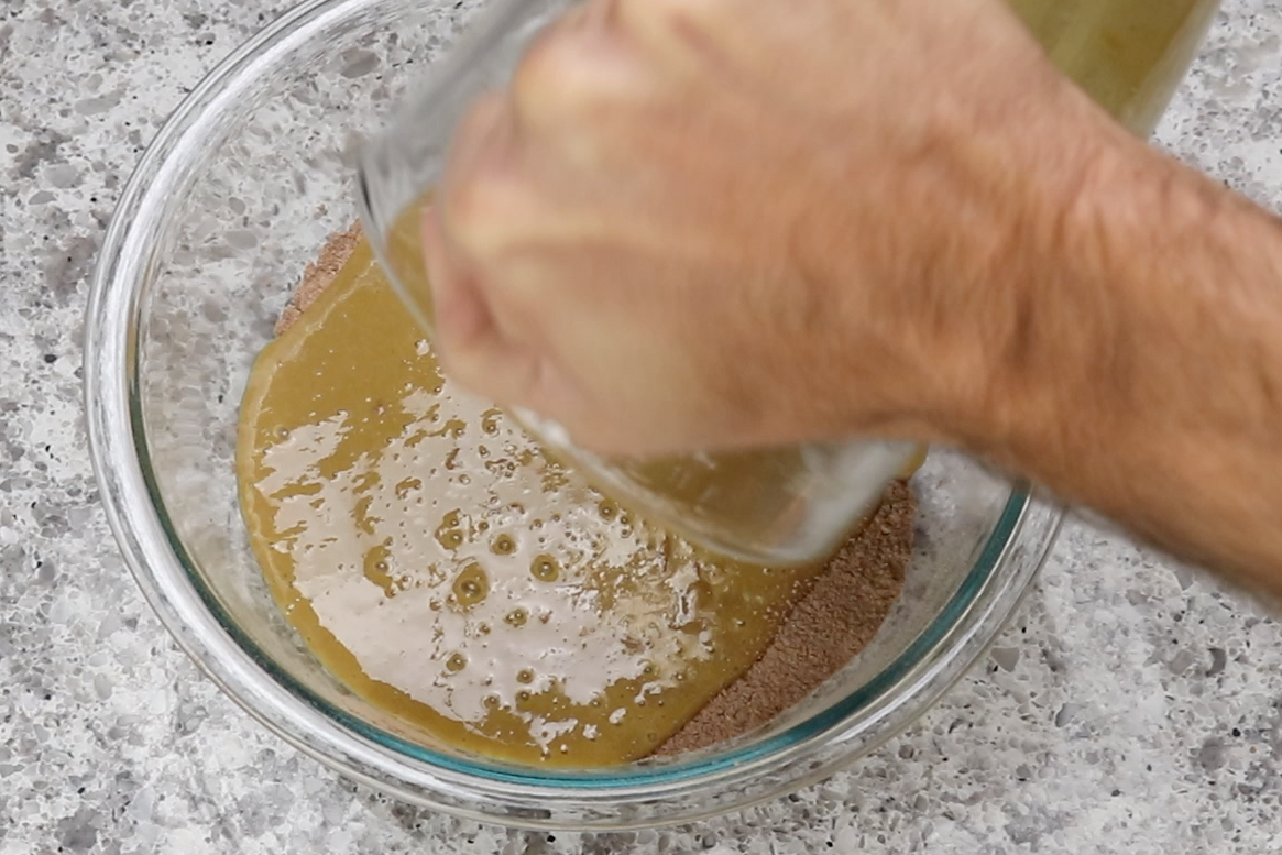 3. Pour the wet ingredients in the blender into the bowl with the dry. -