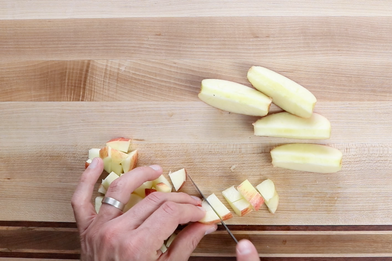 1. Core and chop apples into 1-inch cubes.  -