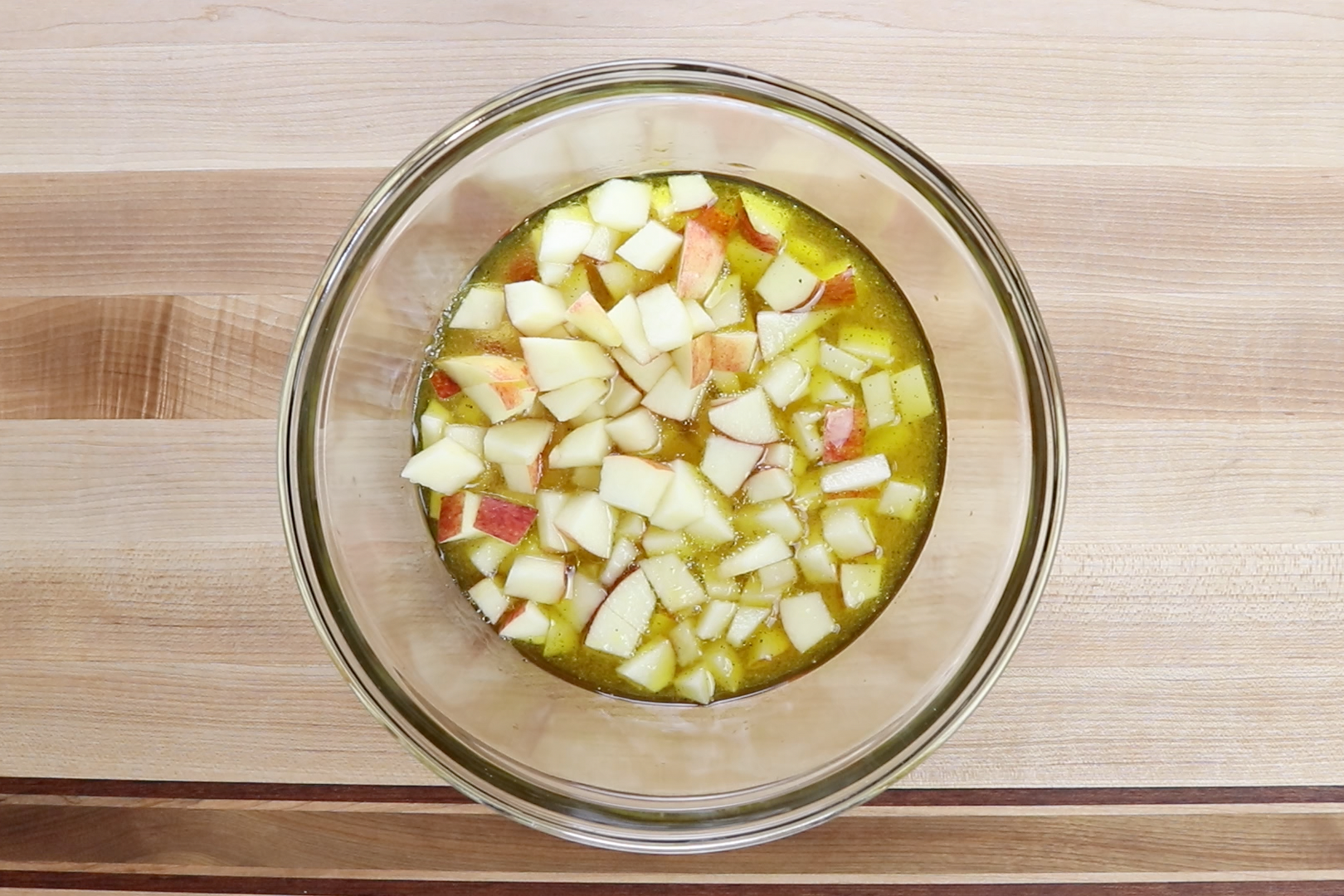 3. Add apples. Stir and set aside letting dressing soak into apples. -