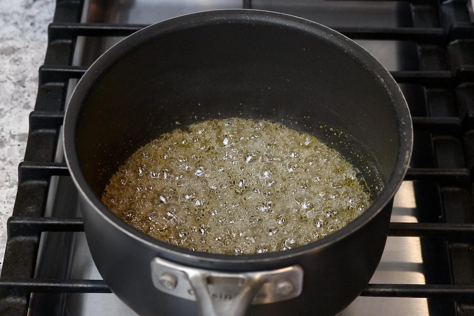 4. Turn heat up to medium-high. When mixture starts to turn golden brown turn off the heat and swish mixture around. -