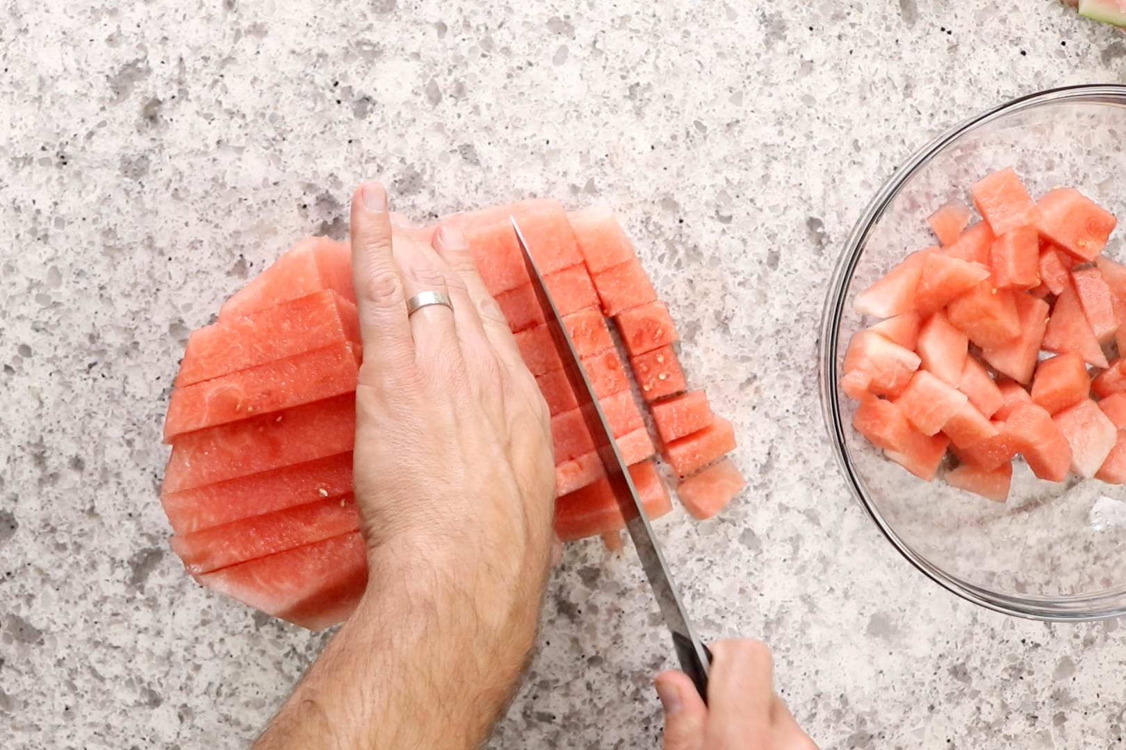 1. Cut watermelon into small pieces and measure out 3 cups.  -