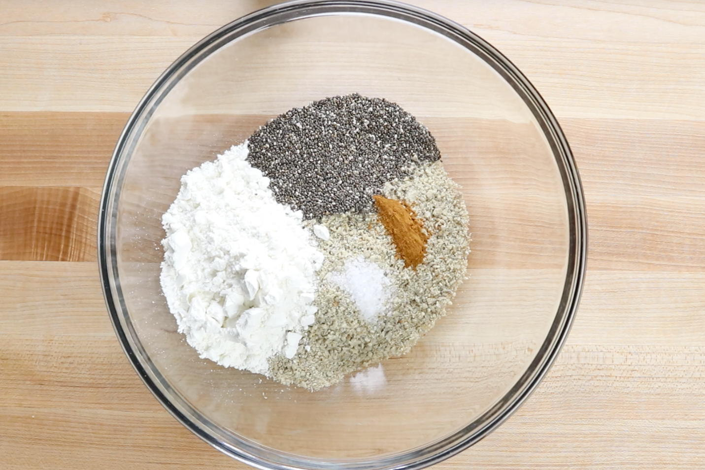 2. Mix sunflower seeds, Gluten-Free flour, Chia seeds, cinnamon and salt in a large bowl. -