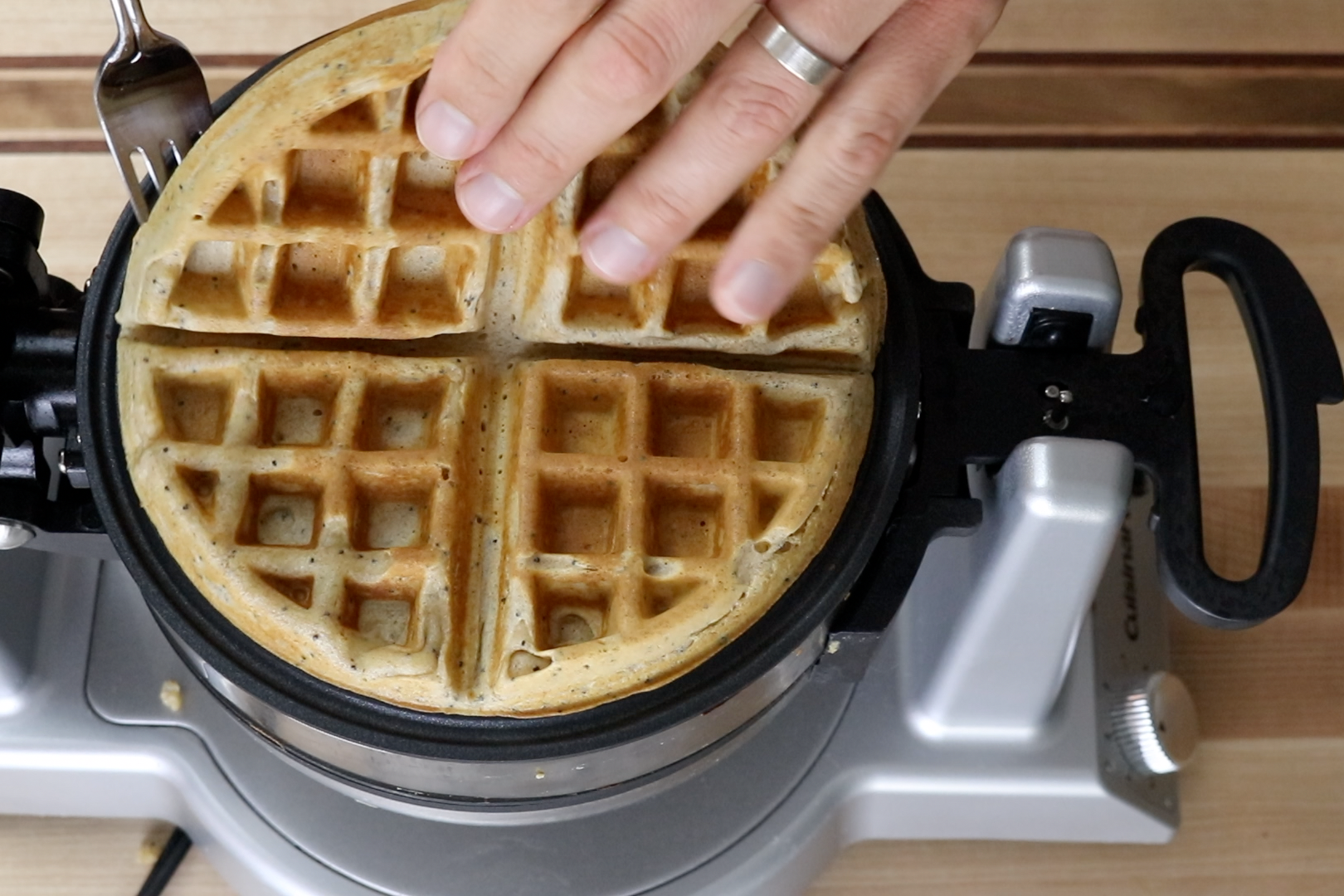 7. Close iron top and cook until the waffle is golden on both sides and is easily removed from iron. About 3-4 minutes depending on the waffle maker. -