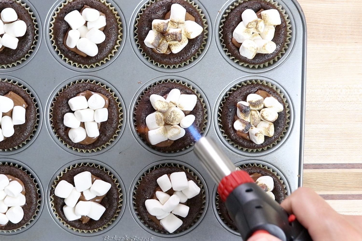 13. Use a kitchen blowtorch to roast the marshmallows until golden brown on top. -