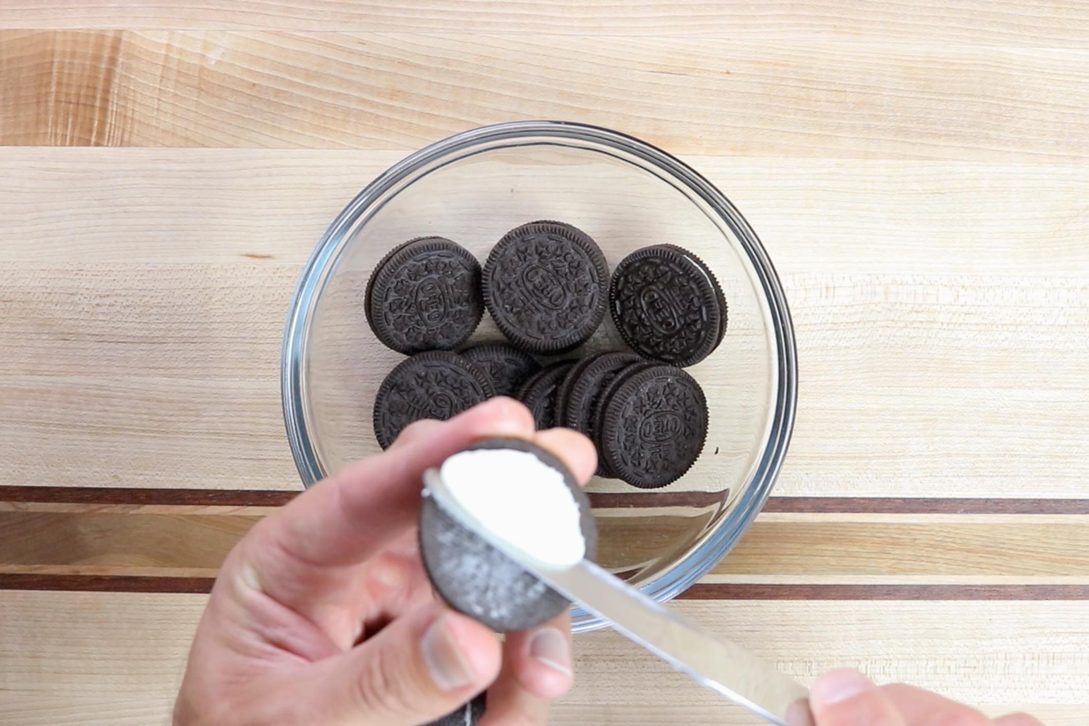 1. Remove cream from Oreos. -