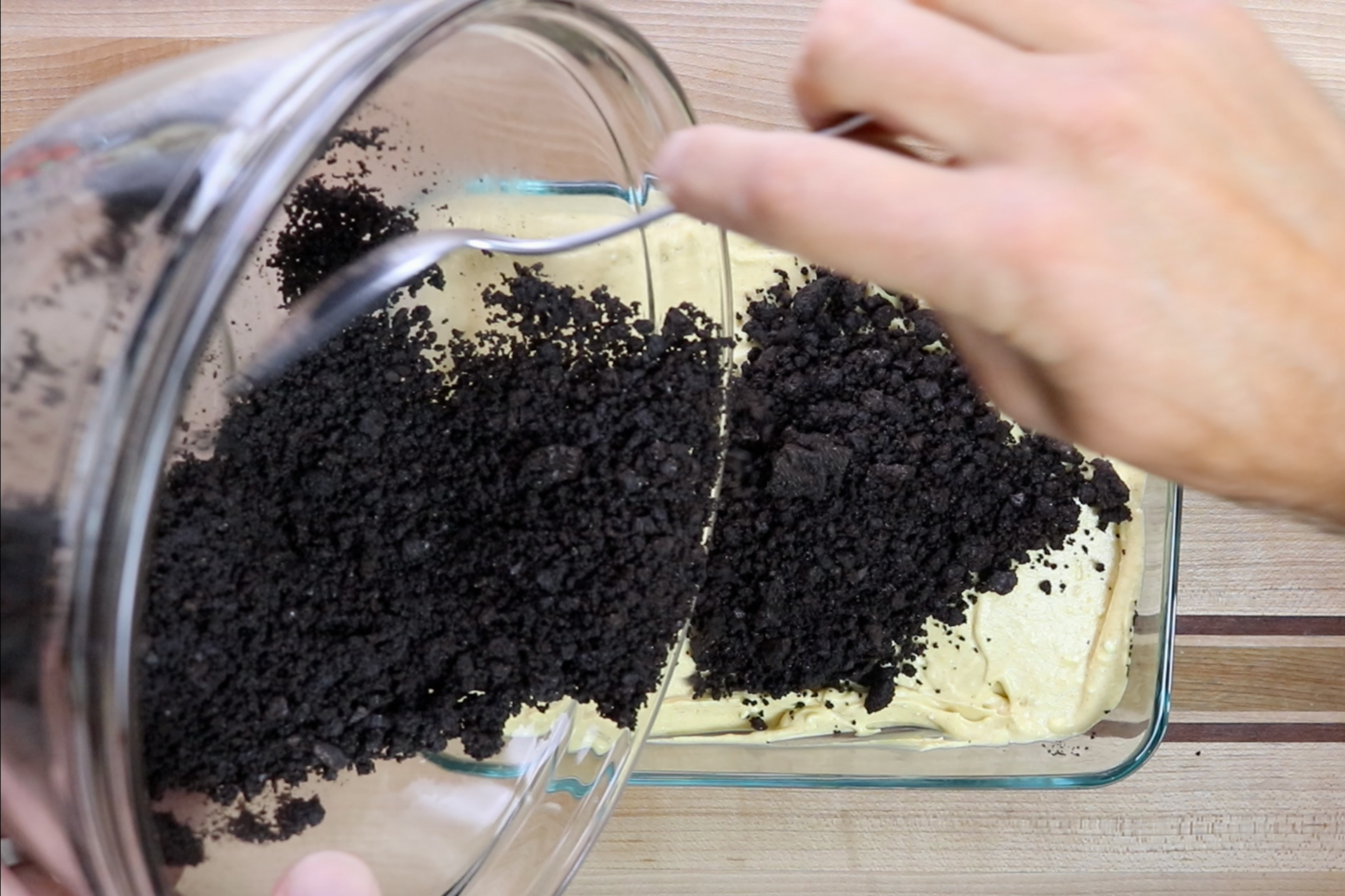 9. Cover top with remaining Oreo crumbs making sure all parts are covered. -