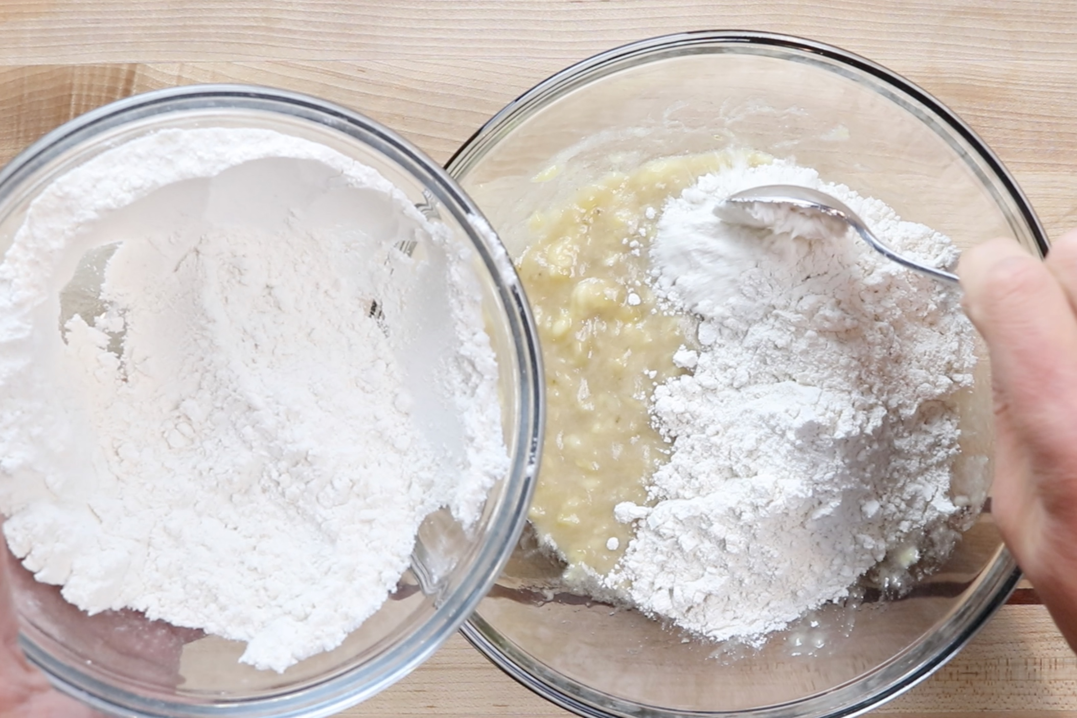 4. Add half of the flour mixture and stir together with a spatula. -