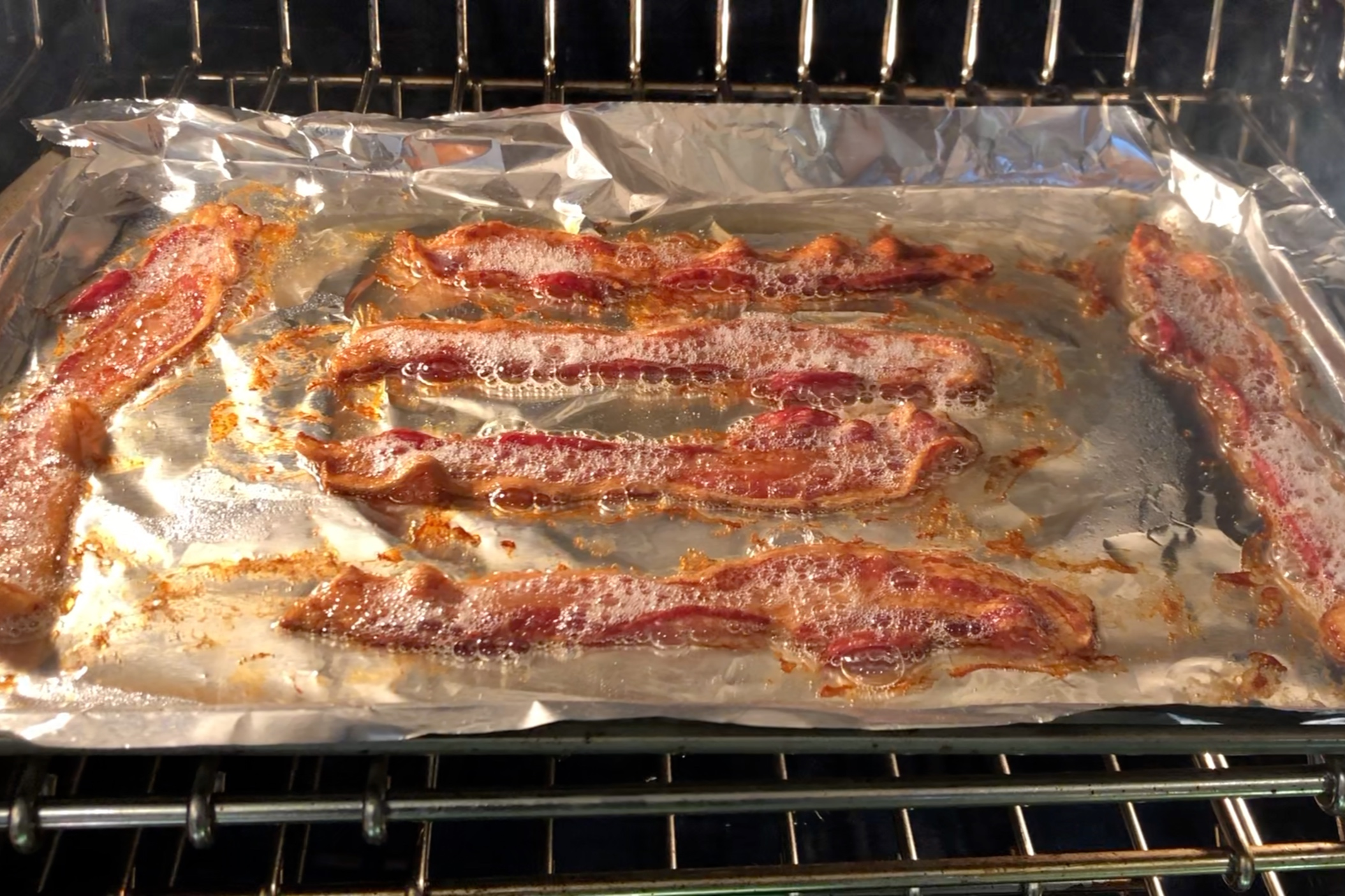 4. Cook bacon in the oven, stovetop or microwave until crispy. -