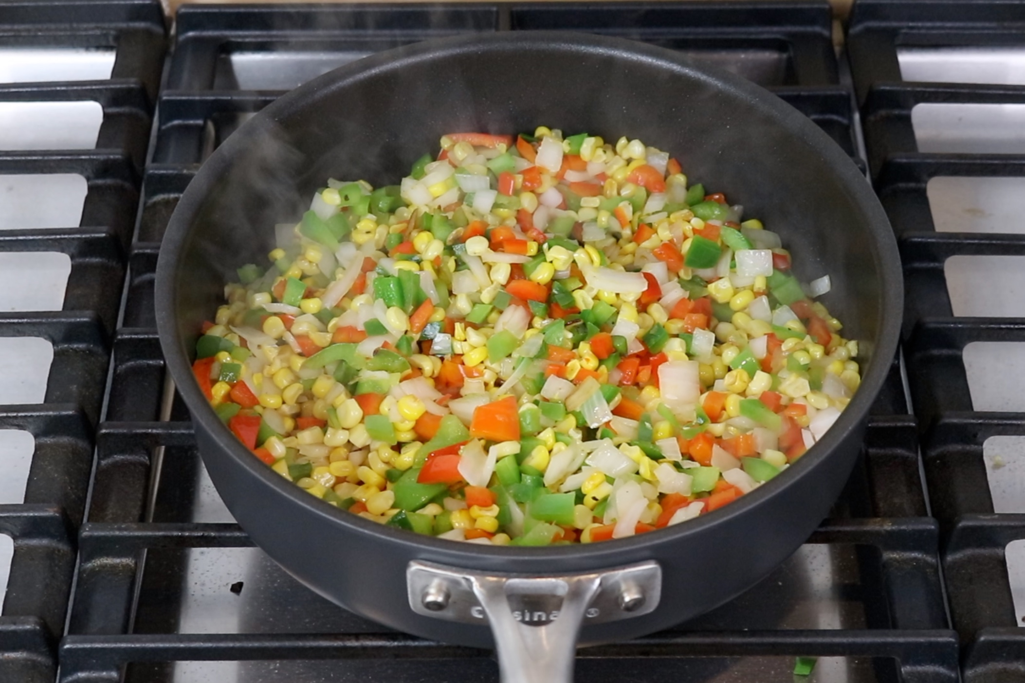 7. Cook the veggies for 5 minutes stirring occasionally. -