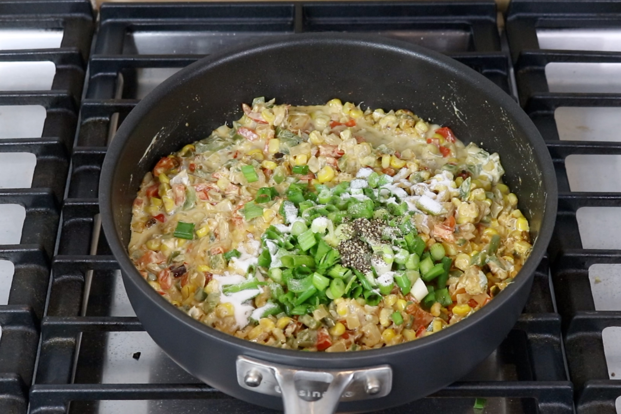 9. Remove from heat and add green onions, salt and pepper. Stir until combined. -