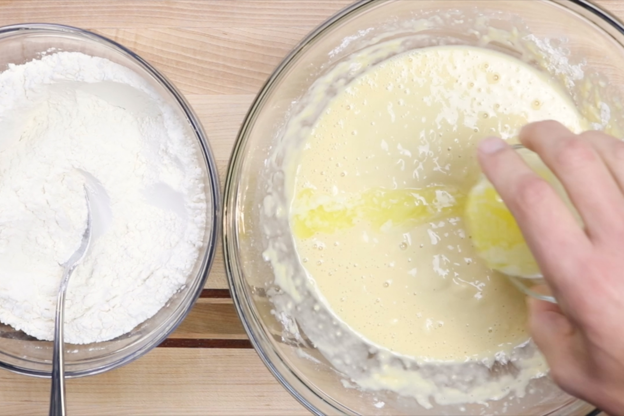7. Add melted butter and continue mixing. -