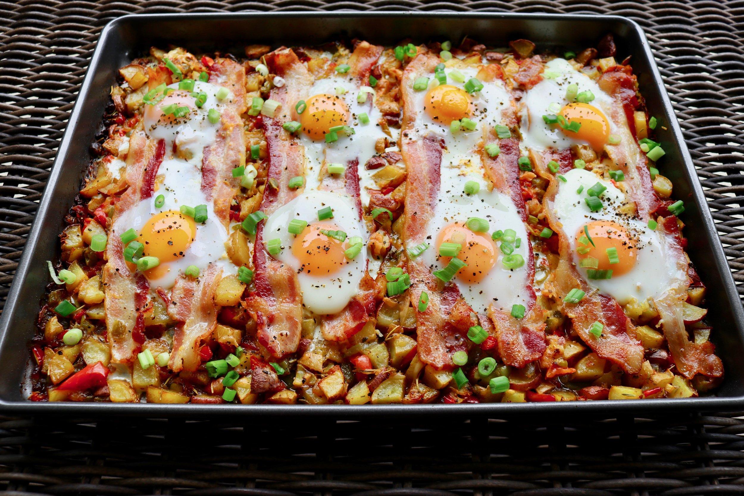 Sheet Pan Potato, Egg and Bacon Breakfast