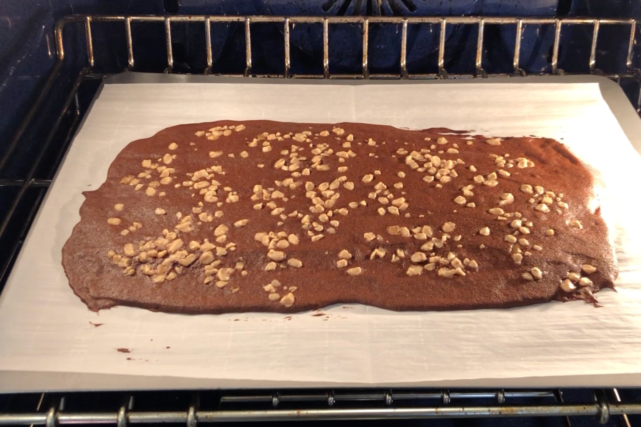 11. Bake sheets one at a time for 17-19 minutes or until the edges of the brownie are just starting to burn. -