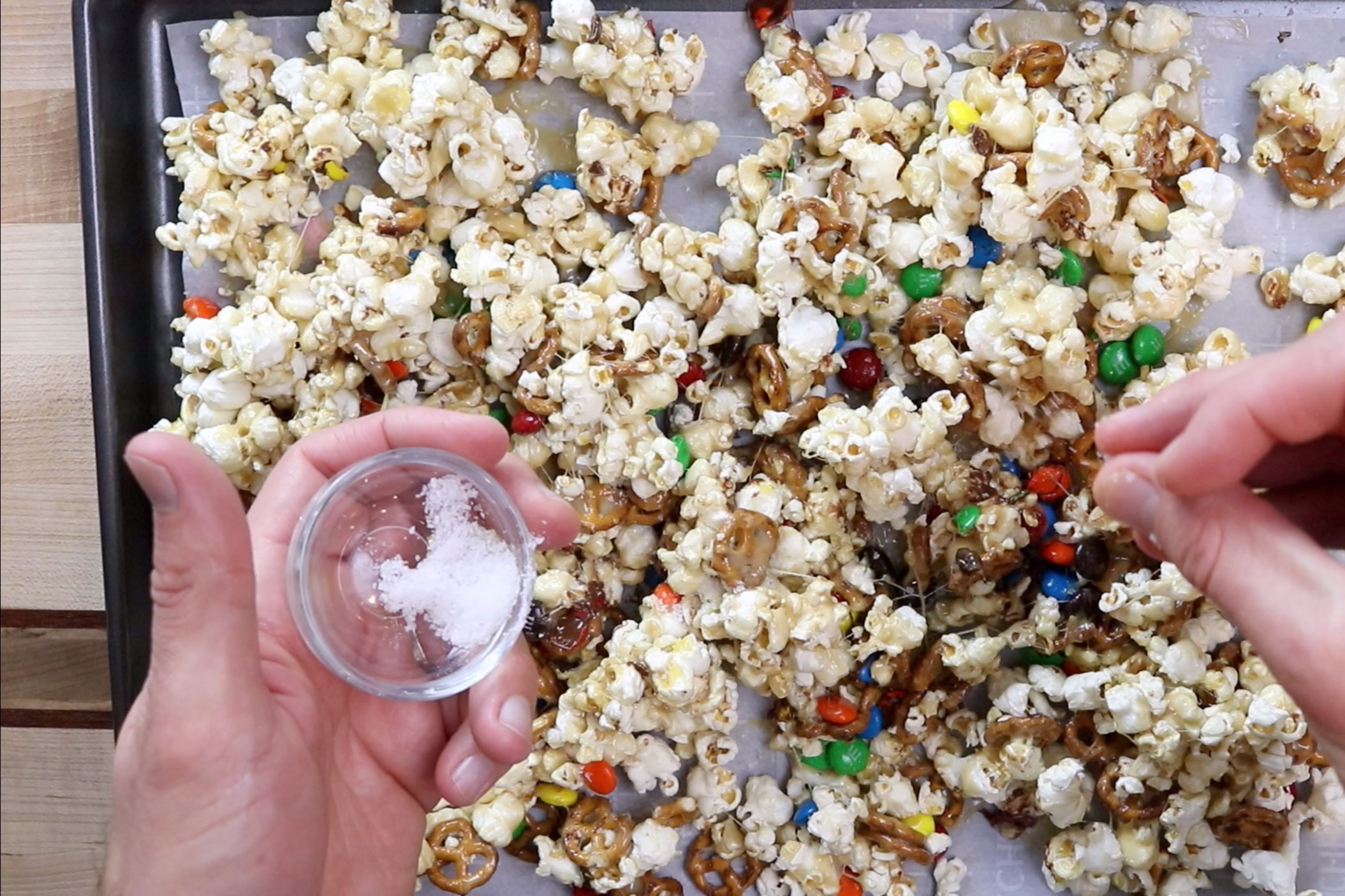 7. Sprinkle with sea salt and serve. Popcorn will keep for serval days in Tupperware. -