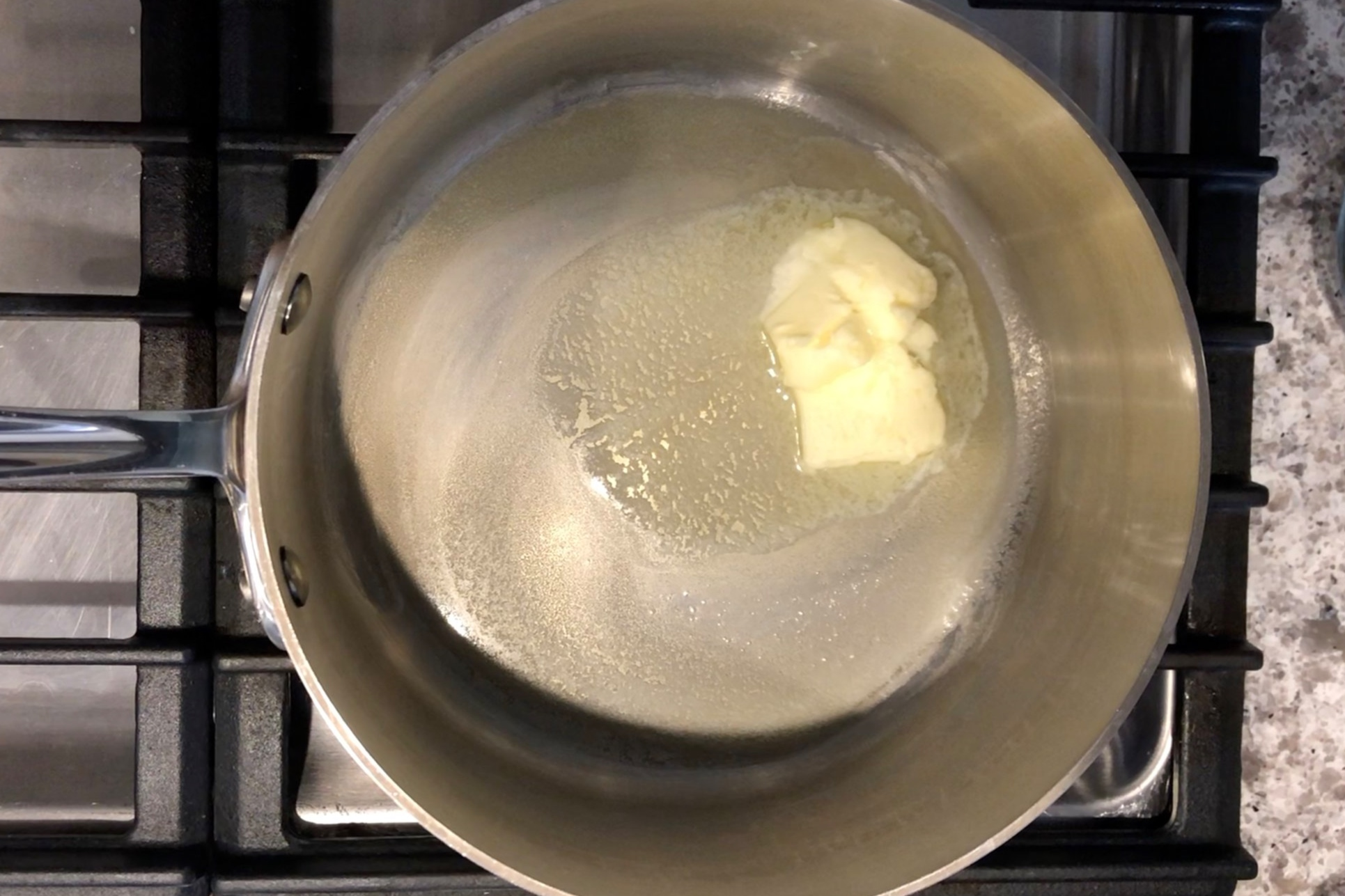 2. In a large saucepan, add the butter and melt over medium heat. -